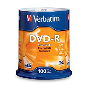 Verbatim 95102 4.7 GB 1x-16x 120 Minute Branded Recordable Disc DVD-R, 100-Disc