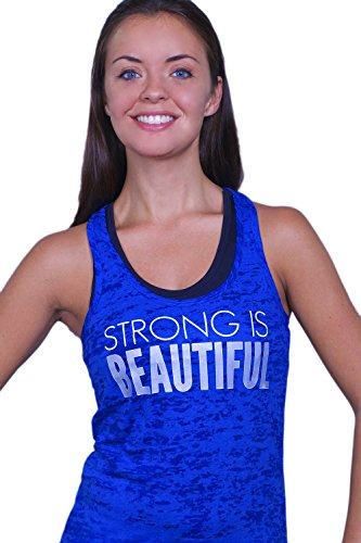 GLOW girl Fitness Women's Strong Is Beautiful Tank Top (Large, Royal Blue) (Is Tank compare prices)