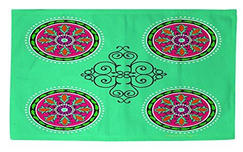 Thumbprintz Dobby Bath Rug, 4 By 6-Feet, Turquoise Boho Medallion Pattern front-483443