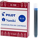 Pilot Namiki IC100 Fountain Pen Ink Cartridge, Blue, 12 Cartridges per Pack (69101) (Color: Blue, Tamaño: Pack of 12)