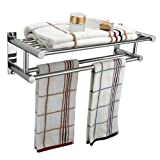 Popamazing Stainless Steel Plated Wall Mounted Bathroom Towel Double Shelf Storage Rail Holder Rack