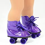 Purple Glitter Roller Skates for 18 Inch Dolls - Roller Skates for American Girl Dolls - the Cutest Doll Shoes and Doll Accessories