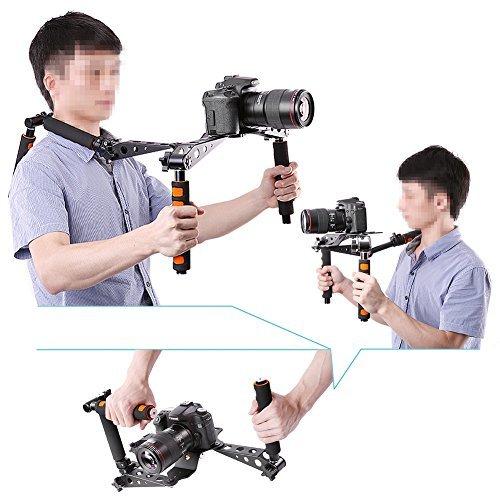 Neewer® Sistema Supporto Stabilizzatore DSLR Rig Pieghevole in Lega di Alluminio per Produzione Movie/Film con Appoggio a Spalla per Fotocamere DSLR e Videocamere, come Canon 5D Mark II III 1D 7D 60D 700D 650D 600D 550D Rebel T5i T4i T3i T2i, Nikon D4 D800 D700 D300 D90 D5000 D7000 D7100 D7200, Sony A7 A7R A7S A7II A6000 NEX-5 NEX-7 A65 A55 A33 A580 A560