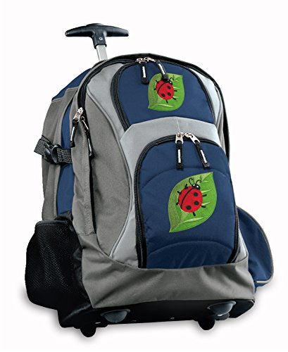 Cute Ladybugs Rolling Backpack Deluxe Navy Backpacks Bags With Wheels Or Schoo