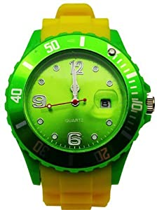 Avcibase Silicone Watch - Yellow Green Crazy Colourful Design Silicone Wristwatch XL Fashion Fan Watch Men's Women's Sport Style Trendy Model 2013 - Top Quality With Rubber Band