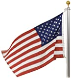 Valley Forge In-Ground United States Flag Kit, containing 20-Foot Aluminum Flag Pole, 3-Foot x 5-Foot Nylon United States Flag With Sewn Stripes & Embroidered Stars, and Hardware