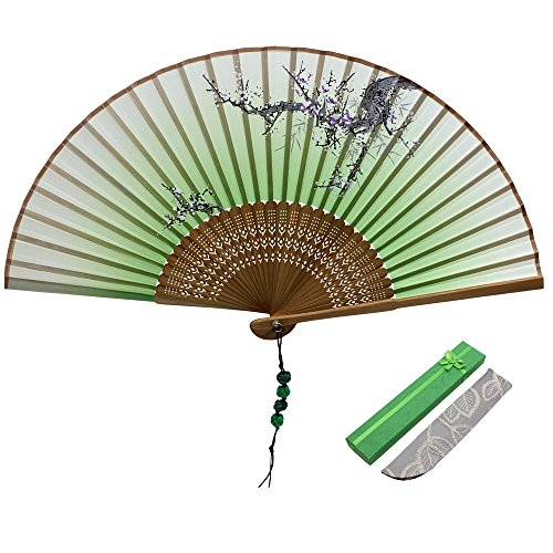 Jsswb Green Handmade Silk Bamboo Folding Fan with Plum Flowers Painting