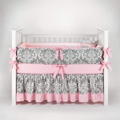 Damask Gray & Pink Baby Bedding - 5Pc Crib Set By Sofia Bedding