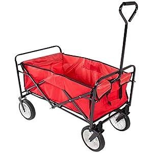 Folding Collapsible Wagon Garden Cart Shopping Beach Cart (Red