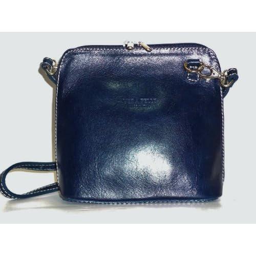 Navy Leather Crossover Shoulder Handbag
