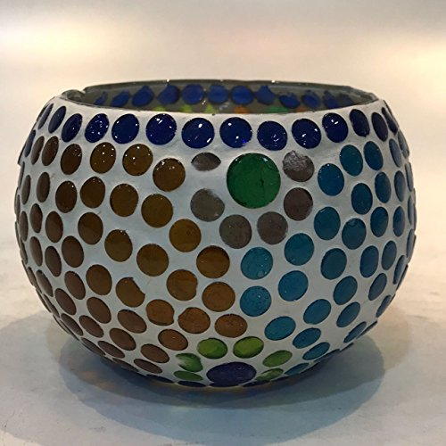 Dlite Crafts Multicolor Polka Design Home Decorative Votive Candle Holder, Set Of 2 PCs - B06XZZ7R1V