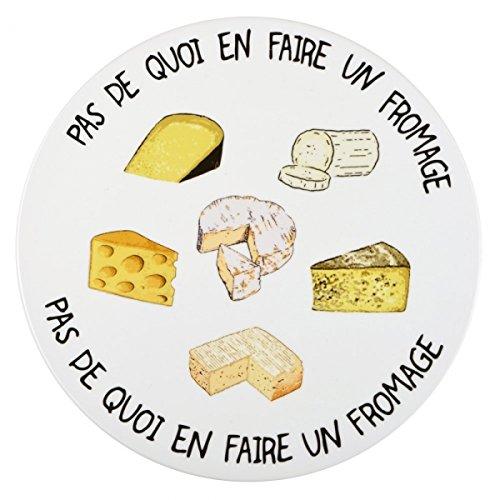 Plat rond à fromages Pas de quoi en faire un fromage Porcelaine Blanc et motifs La chaise longue 35-2K-701