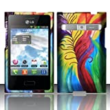 LG Optimus Logic L35g / Dynamic L38c Case Colored Feather Design Cover (Straight Talk/Net 10) + Free TRENDE Gift Box
