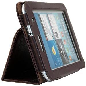 Shenit Premium PU Leather Case Cover Folio for Samsung Galaxy Tab 2 7.0 P3110/P3100 - Brown + Free Retractable Stylus