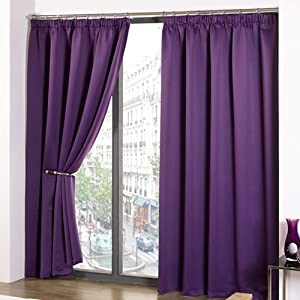 Luxury Thermal Supersoft Blackout Curtains Purple Aubergine 66 Wide X 90 Drop