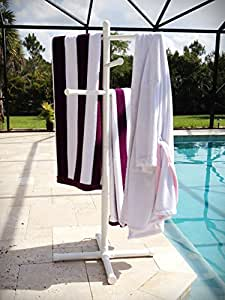 Amazon Com Pool Amp Spa Towel Rack Premium Extra Tall Towel Tree Outdoor Pvc Patio Lawn Amp Garden