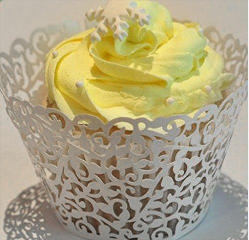 Phenovo hueca para cupcakes fundas de papel para fiestas marfil 50 unidades