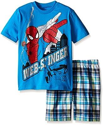 Marvel Boys' Spiderman Plaid Short Set