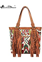 Fashion Handbag Purse Western Aztec Fringe Collection Handbag Brown KA8317