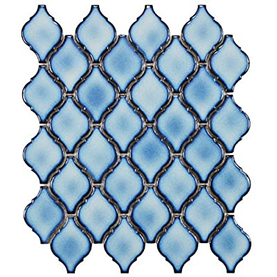 "SomerTile FDXARAL Casablanca Aella Porcelain Floor and Wall Tile, 9.875"" x 11.125"", Blue"