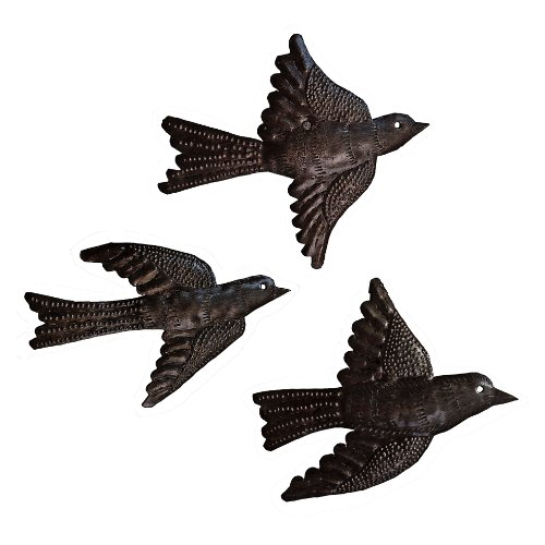 Le Primitif Galleries Haitian Recycled Steel Oil Drum Outdoor Decor, 6.5 by 5-Inch, Three Piece Bird Set