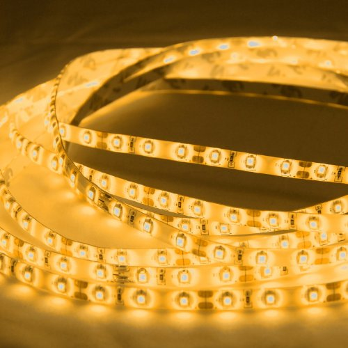 Abi Orange Yellow Flexible Led Light Strip With Ac Adapter, Waterproof, Smd 3528 Led Chips, 5 Meters / 16.4 Ft Spool, 12Vdc