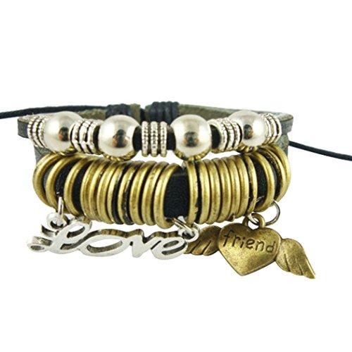 [Wild Wind (TM) Multi-Loop Angel's Wings Friend Love Adjustable with Gold-plate Rings Wrap Bracelet] (Homemade Nativity Angel Costumes)