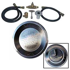 """Dreffco 20"""" Round Drop-In Stainless Steel NG Fire Pit Burner Pan Kit"""