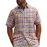 Plaid lined Ivory Brown short sleeve linen shirt.
