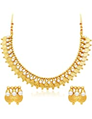Sukkhi Pretty Gold Plated Temple Jewellery Necklace Set For Women