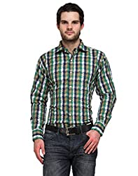 Ausy Blue and Green Cotton Blend Mens's Shirt