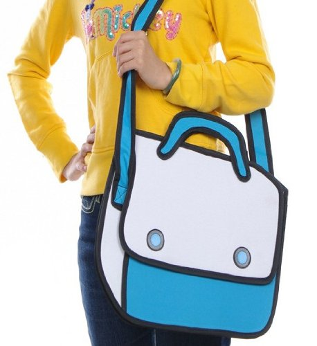 Leshery 3D Jump Style 2D Drawing From Cartoon Paper Bag Comic 3D Backpack (Blue)