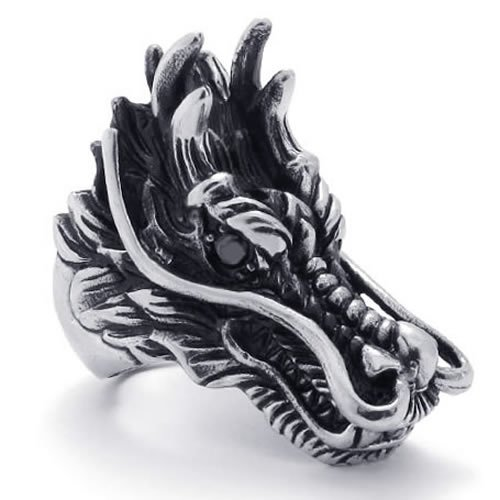 KONOV Jewelry Vintage Gothic Dragon Stainless Steel Biker Mens Ring, Black Silver (Available in Sizes 8 - 15) - Size 13