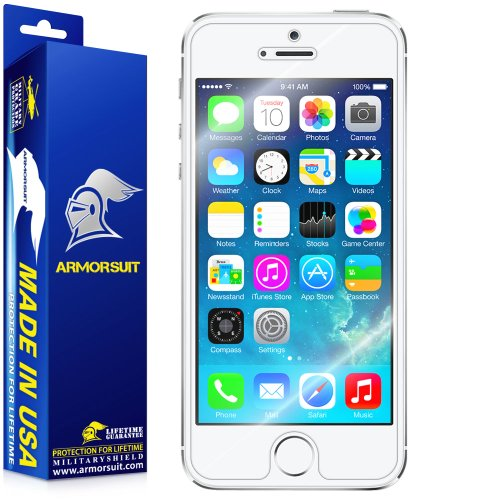 ArmorSuit MilitaryShield - Apple iPhone 5S Screen Protector (Case Friendly) Anti-Bubble Ultra HD - Extreme Clarity & Touch Responsive Shield with Li
