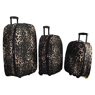 3 Piece Suitcase Set Suitcases Frenzy Leopard Print Luggage Travel - Brown Leopard Print