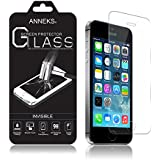 Anneks® Premium Invisible Tempered Glass Screen Protector for iPhone 5 / iPhone 5S / iPhone 5C with Crystal Clear Transparency 9H Hardness and Ultra Slim Design - The Best Scratch Protection Ever, Knives Glide Across Leaving No Marks