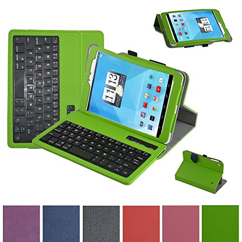 """Mama Mouth Bluetooth Keyboard case--Coustom Design Slim Stand PU Leather Case Cover With Romovable Bluetooth Keyboard For 7.85"""" Trio AXS 4G 3G Android Tablet,Green at Electronic-Readers.com"""
