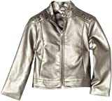 KC Parker Little Girls'  Synthetic Leather Moto Jacket, Gunmetal Grey, 4