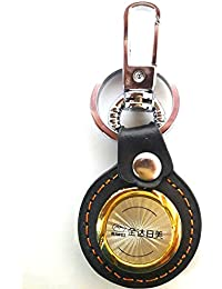 MM Leather Rimei Round Shaped Hook Metal Double Side Keychain For Cars And Bikes