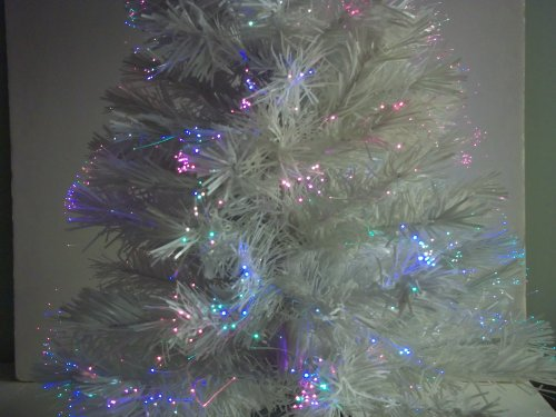 "32"" WHITE Color Changing Fiber Optic Artificial Christmas"