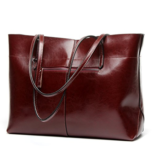Covelin Women's Handbag Genuine Leather Tote Shoulder Bags Soft Hot Wine red (Leather Italian Handbags compare prices)