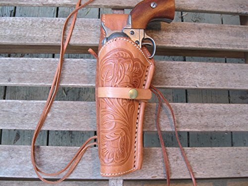 "Western Gun Holster - Natural Color - Left Handed - for 22 Caliber single action revolver - Size 6"" - tooled Leather from Shotgun Lilli"