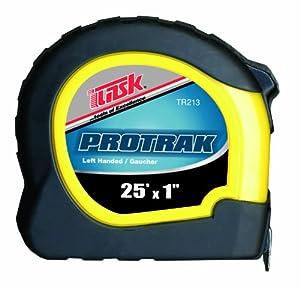 Task Tools TR213 25-Feet ProTrak Tape Measure, Left-Handed, Yellow