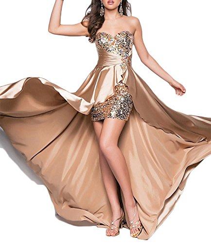 Eudolah Damen goldenes Kleid lang