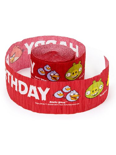 Amscan Unisex Adult Angry Birds Crepe Streamer Red Medium