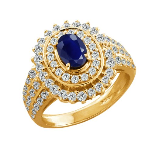 2.95 Ct Oval Blue Sapphire Yellow Gold Plated Sterling Silver Woman's Ring
