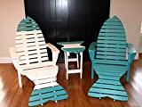 Poly Fish Adirondack Chair Pair Set with Ottomans and Side Table *12 Colors* - Aruba Blue - Amish Made in USA