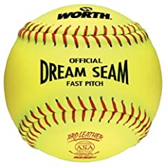 Worth ASA NFHS 12 in. Dream Seam Fastpitch Softballs - 1 Dozen by Worth
