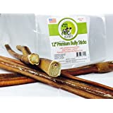 Best 12-INCH Bully Sticks Made in USA for Dogs 30+ LBS~Grass-Fed Kosher American Beef~No Antibiotics No Growth Hormones~Chew Treats for Dogs FDA/USDA Inspected~Low Odor Thick USA Pizzles~6 Count Bag