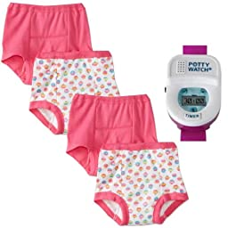 Gerber 4 Pack Training Pants with Potty Watch Timer, Girl, 2T